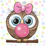 Cute Cartoon Owl with bubble gum. Cute Cartoon Owl in a pink hat with bubble gum vector illustration