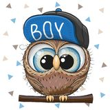 Cute Cartoon Owl in a cap. On a white background vector illustration