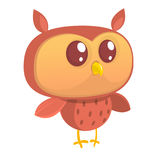 Cute cartoon  owl character. Isolated on white background. Flat design. Vector illu. Cute cartoon  owl character. Wild forest animal collection. Baby education Royalty Free Stock Image