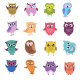 Cute cartoon owl characters vector set. Owl character bird, animal drawing comic and childish illustration Royalty Free Stock Photo