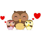 Cute owl family Royalty Free Stock Image