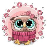 Cute Cartoon Owl with flowers Royalty Free Stock Image