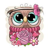 Cartoon Owl with flowerson a white background. Cute Cartoon Owl with flowers on a white background royalty free illustration