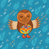 Cute cartoon owl flying in the sky Royalty Free Stock Photo