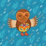 Cute cartoon owl flying in the sky Royalty Free Stock Photo