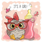 Cute Cartoon Owl Girl Stock Photography
