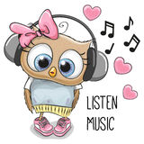 Cute Cartoon Owl Girl Stock Photos