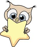 Cute cartoon owl girl with star royalty free illustration