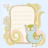 Cute cartoon owl invitation fcard Stock Photography