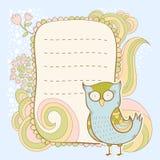 Cute cartoon owl invitation fcard Stock Photography