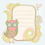 Cute cartoon owl invitation fcard Stock Photos