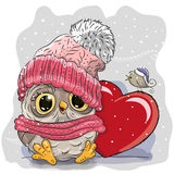 Cute Cartoon owl in a knitted cap Royalty Free Stock Photography