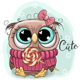 Cute Cartoon Owl with lollipop Royalty Free Stock Photos