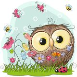 Cute Cartoon Owl on a meadow. With flowers and butterflies royalty free illustration