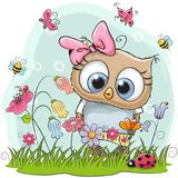 Cute Cartoon Owl on a meadow. With flowers and butterflies stock illustration
