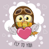 Cute cartoon Owl in a pilot hat. Is flying on the heart vector illustration