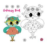 Cute cartoon owl with pink dress on white background Stock Photos