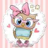 Cute owl in pink eyeglasses. Cute cartoon owl in pink eyeglasses with a bow stock illustration