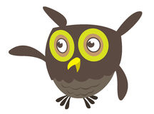 Cute cartoon owl pointing royalty free illustration