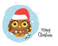 Cartoon owl with Christmas lights. Cute cartoon owl in red hat with multi-colored Christmas lights. Christmas vector illustration Royalty Free Stock Photo