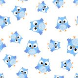 Cute cartoon owl seamless pattern background. Business flat  Royalty Free Stock Photography
