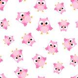 Cute cartoon owl seamless pattern background. Business flat  Royalty Free Stock Image