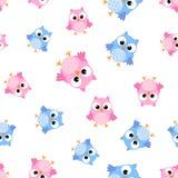 Cute cartoon owl seamless pattern background. Business flat  Stock Photos