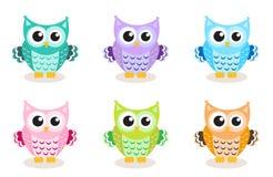 Cute cartoon owl set Royalty Free Stock Images