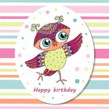 Cute cartoon owl sitting on tree branch. Cute colorful cartoon owl is dancing on multicolored background with stripes. Can be used for birthday cards, baby vector illustration