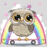 Cute Cartoon Owl with skateboard stock illustration