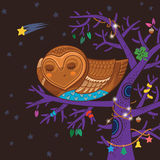 Cute cartoon owl sleep on the magic tree. Cartoon card with sleeping owl in vector stock illustration