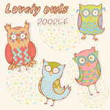 Cute cartoon owl stylish sticker collection Stock Photography