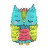 Cute cartoon owl. vector animal illustration Stock Images
