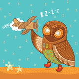 Cute cartoon owl with wooden toy airplane Royalty Free Stock Images