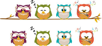 Cute cartoon owls Stock Photos