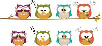 Cute cartoon owls. Different cartoon owls standing on a branch Stock Photos