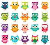 Cute cartoon owls collection Royalty Free Stock Photos