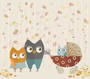 Cute cartoon owls family Stock Image