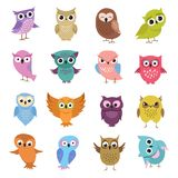 Cute cartoon owls. Funny forest birds vector collection Stock Images
