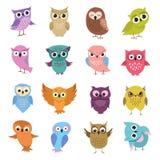 Cute cartoon owls. Funny forest birds vector collection vector illustration