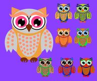 Cute cartoon owls set for baby showers, birthdays and invitation designs. Cute multicolored cartoon owls for children, different designs royalty free illustration