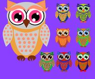 Cute cartoon owls set for baby showers, birthdays and invitation designs. Cute multicolored cartoon owls for children, different designs stock illustration