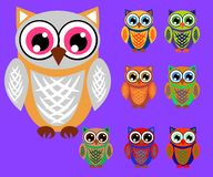 Cute cartoon owls set for baby showers, birthdays and invitation designs. Cute multicolored cartoon owls for children, different designs vector illustration