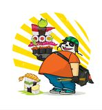 A cute cartoon panda delivers Asian food. Illustration of a courier panda delivering sushi, rolls. The character is isolated on a stock illustration
