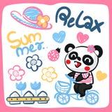 Cute cartoon panda girl riding bicycle. Royalty Free Stock Photos