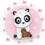 Cute cartoon panda holding chocolate on pink background vector illustration