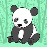 Cute cartoon panda in its natural habitat Stock Photo