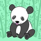 Cute cartoon panda in its natural habitat. Cute cartoon panda smiling while sitting on the ground, in its green natural habitat, a bamboo forest Stock Photo