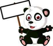 Cute cartoon panda posing with white board Stock Image