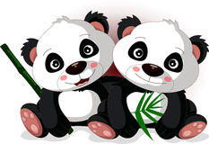 Cute cartoon panda's brother Royalty Free Stock Photos
